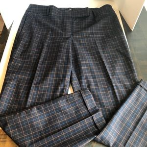 Navy plaid cropped dress pants